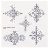Богемская индийская печать мандалы Винтажный стиль татуировки хны Стоковое Изображение