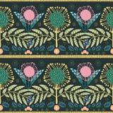 Богемский пинк стиля, цветки золота и листья teal Бумага отрезала вне влияние на листьях Безшовная геометрическая картина вектора иллюстрация вектора