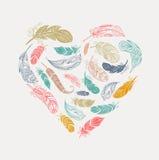 Богемский плакат стиля при цыганские красочные пер, аранжированные в сердце иллюстрация вектора