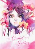 Богиня орхидеи - шаблон поздравительной открытки с beautifu акварели Стоковые Изображения