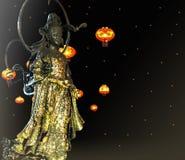 Богиня сострадания Guanyin или Guan Yin восточная азиатская бодхисаттва связанная с состраданием как чтитьо бутоном Mahayana Стоковое Фото