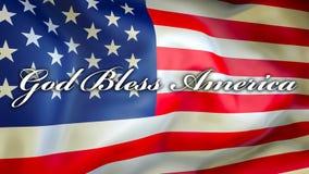 Бог благословляет Америку на предпосылке флага США, перевод 3D Флаг Соединенных Штатов Америки развевая в ветре американский флаг бесплатная иллюстрация