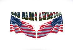 Бог благословляет Америку с 2 флагами США иллюстрация штока