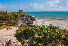 Бог виска ветров на море бирюзы карибском Старые майяские руины в Tulum, Мексике, Юкатане стоковые изображения rf