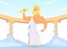 Бог Зевса греческий старый грома и молнии иллюстрация штока