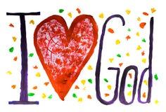Бог текст концепции влюбленности покрашенный с цветами на бумаге стоковые изображения