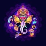 бог ganesha индусский Стиль нарисованный рукой племенной вектор Стоковые Изображения RF