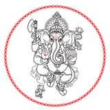 бог ganesha индусский Стиль нарисованный рукой племенной вектор иллюстрация штока