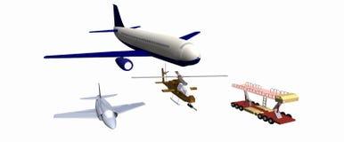 2 боевого самолета, один вертолет боя, механически след низко-поли модель 3D иллюстрация штока