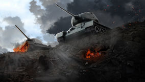 2 боевого танка на краю загубленных областей Стоковые Фото
