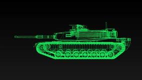 Боевой танк армии США в форме голографических линий видеоматериал