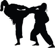 Боевые искусства дзюдо практики женщины Иллюстрация штока