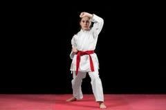 Боевые искусства карате маленькой девочки таблетируя Стоковые Фото