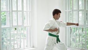 Боевые искусства мастерские на тренировке боя в спортзале сток-видео