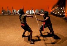 Боевые искусства Kalaripayattu в Керале, южной Индии Стоковое Изображение