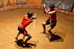 Боевые искусства Kalaripayattu в Керале, южной Индии Стоковое Фото