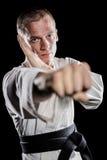 Боец выполняя позицию карате Стоковое Изображение