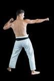Боец карате выполняя позицию карате Стоковые Фотографии RF