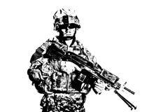 Боец морской пехоты с съемкой студии пулемета стоковое изображение