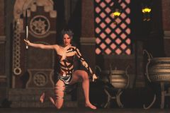 Боец ножа фантазии женский в дворце Стоковые Фото