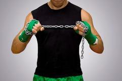 Боец с зелеными повязками Стоковое фото RF