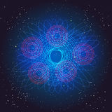 Бозон Higgs, квантовая механика Рейс в космосе Большая иллюстрация челки Предпосылка вектора абстрактная космическая Стоковое Изображение RF
