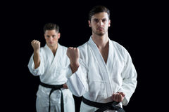 2 бойца карате выполняя позицию карате Стоковые Фотографии RF