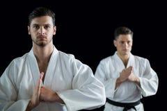 2 бойца карате выполняя позицию карате Стоковые Изображения