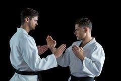 2 бойца карате практикуя карате Стоковые Фото