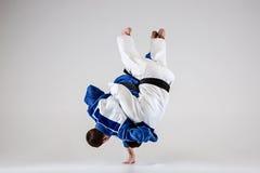 2 бойца judokas воюя людей Стоковая Фотография RF