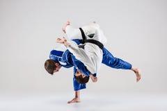 2 бойца judokas воюя людей Стоковое фото RF