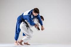 2 бойца judokas воюя людей Стоковое Изображение RF