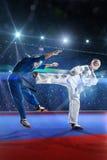 2 бойца kudo воюют на грандиозной арене Стоковое Изображение RF