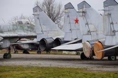 Бойцы военного самолета на авиапорте Старые decommissioned воздушные судн Авиаполе Краснодара Стоковое Изображение