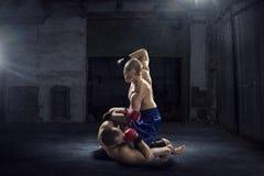 Бойцы коробки trainning Мультимедиа Мультимедиа Стоковое Изображение