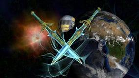 Бойцы космоса земли Стоковые Изображения RF