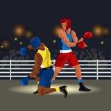 Бойцы сражают в кольце в sportswear и при спортивный инвентарь имея матч по боксу с иллюстрацией вектора knockdown Стоковые Изображения