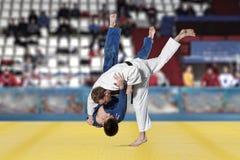 Бойцы Judokas воюя людей на предпосылке вентиляторов Стоковая Фотография RF
