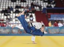 Бойцы Judokas воюя людей на предпосылке вентиляторов Стоковые Изображения