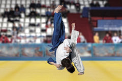 Бойцы Judokas воюя людей на предпосылке вентиляторов Стоковые Изображения RF