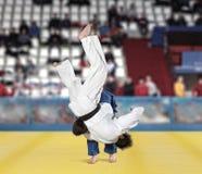 Бойцы Judokas воюя людей на предпосылке вентиляторов Стоковое Изображение