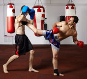 Бойцы Kickbox sparring в спортзале Стоковое фото RF