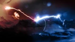 бой 2 богов с молниями стоковые фото