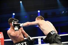 Бой бокса ранжировки в дворце спорта Стоковые Фотографии RF