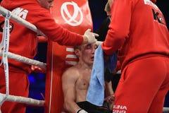 Бой бокса ранжировки в дворце спорта Стоковые Изображения RF