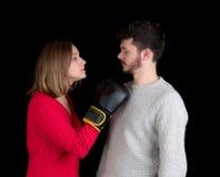 Бой женщины и человека Стоковые Фото