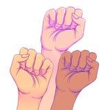Бой как девушка 3 руки женщины при ее кулак поднятый вверх девушка иллюстрация штока
