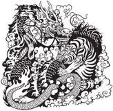 Бой дракона и тигра иллюстрация вектора