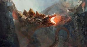 Бой дракона иллюстрация штока