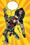 Бой человека и вооруженного робота иллюстрация штока